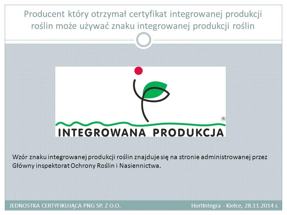 Producent który otrzymał certyfikat integrowanej produkcji roślin może używać znaku integrowanej produkcji roślin