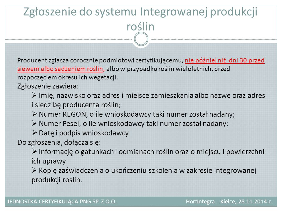 Zgłoszenie do systemu Integrowanej produkcji roślin