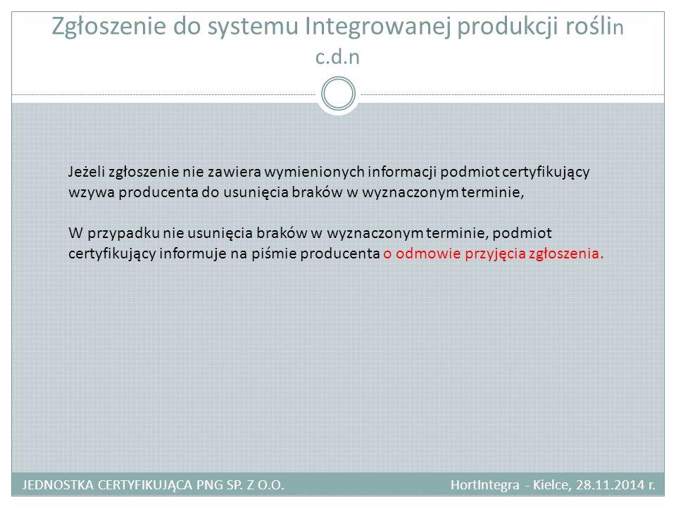 Zgłoszenie do systemu Integrowanej produkcji roślin c.d.n