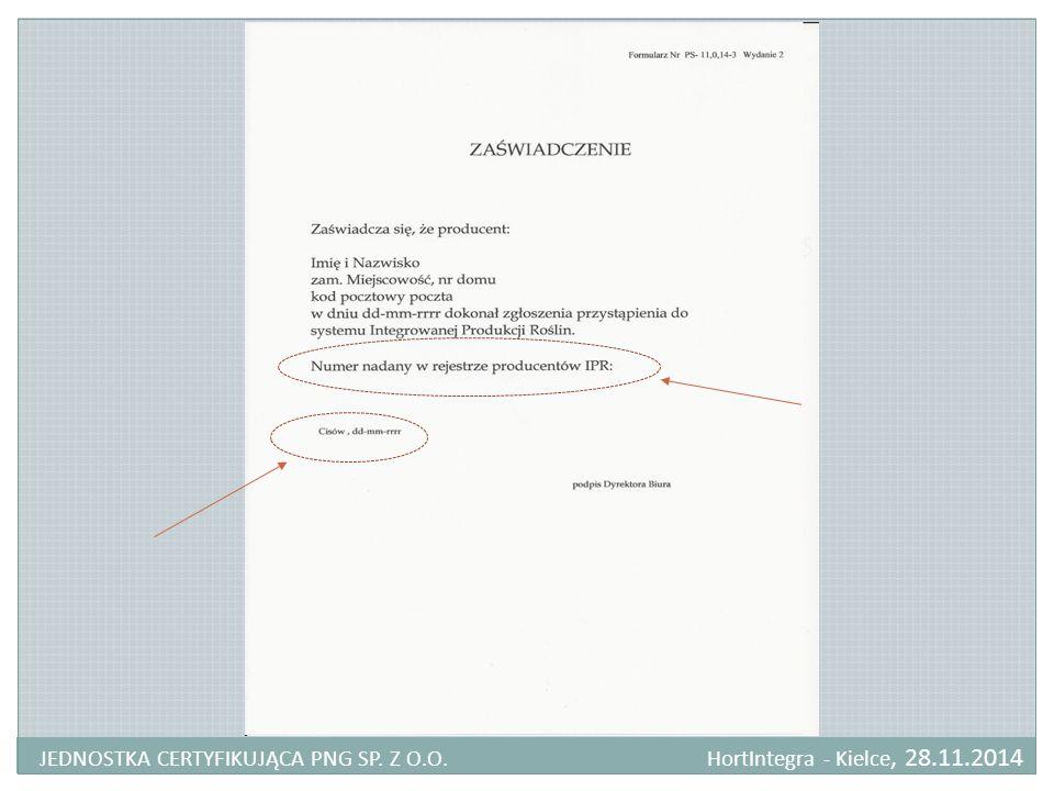 JEDNOSTKA CERTYFIKUJĄCA PNG SP. Z O. O. HortIntegra - Kielce, 28. 11