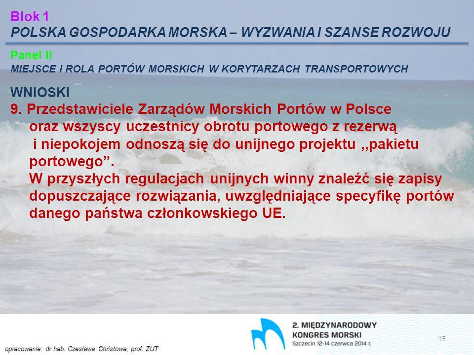 Blok 1 POLSKA GOSPODARKA MORSKA – WYZWANIA I SZANSE ROZWOJU. Panel II. MIEJSCE I ROLA PORTÓW MORSKICH W KORYTARZACH TRANSPORTOWYCH.