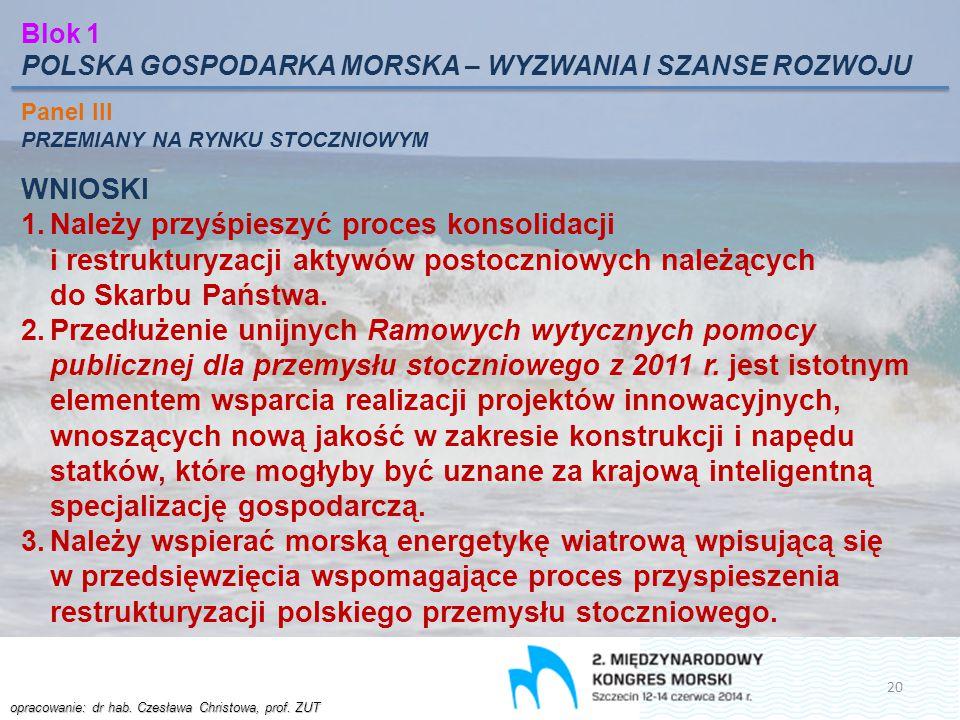 Blok 1 POLSKA GOSPODARKA MORSKA – WYZWANIA I SZANSE ROZWOJU. Panel III. PRZEMIANY NA RYNKU STOCZNIOWYM.