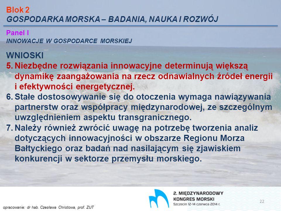 Blok 2 GOSPODARKA MORSKA – BADANIA, NAUKA I ROZWÓJ. Panel I. INNOWACJE W GOSPODARCE MORSKIEJ. WNIOSKI.