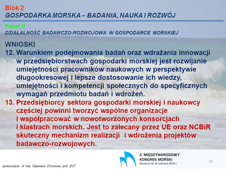 Blok 2 GOSPODARKA MORSKA – BADANIA, NAUKA I ROZWÓJ. Panel II. DZIAŁALNOŚĆ BADAWCZO-ROZWOJOWA W GOSPODARCE MORSKIEJ.