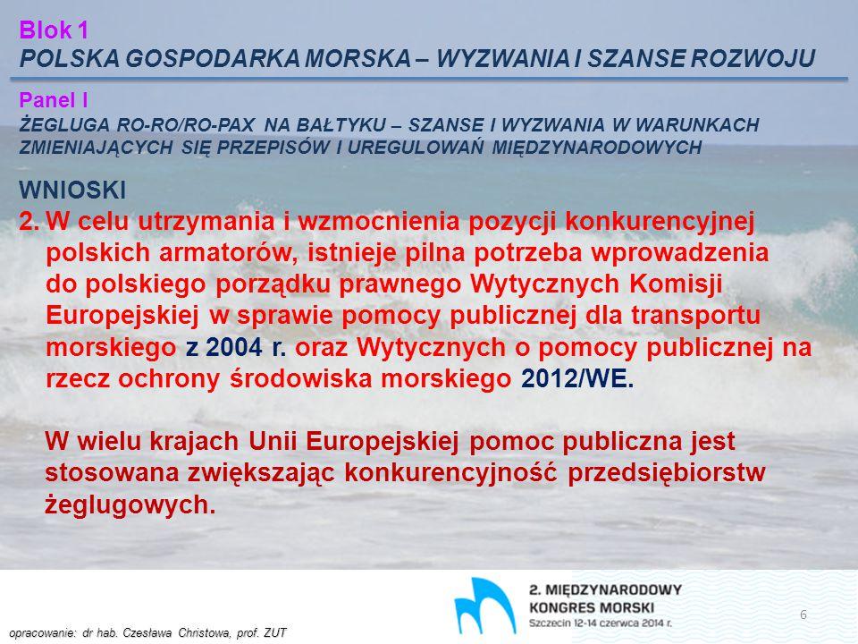 Blok 1 POLSKA GOSPODARKA MORSKA – WYZWANIA I SZANSE ROZWOJU. Panel I.