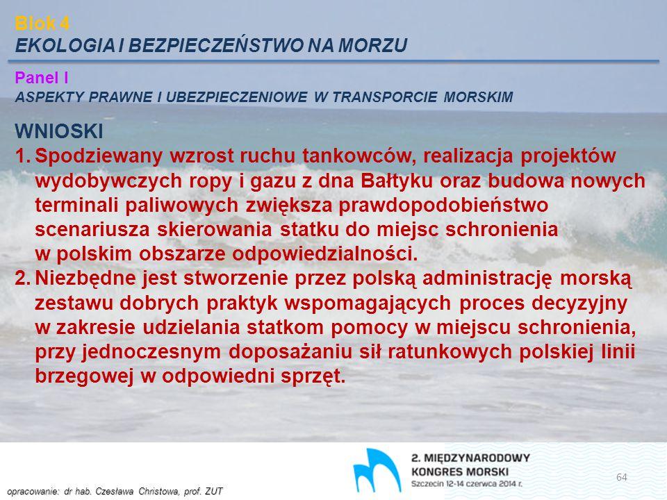Blok 4 EKOLOGIA I BEZPIECZEŃSTWO NA MORZU. Panel I. ASPEKTY PRAWNE I UBEZPIECZENIOWE W TRANSPORCIE MORSKIM.