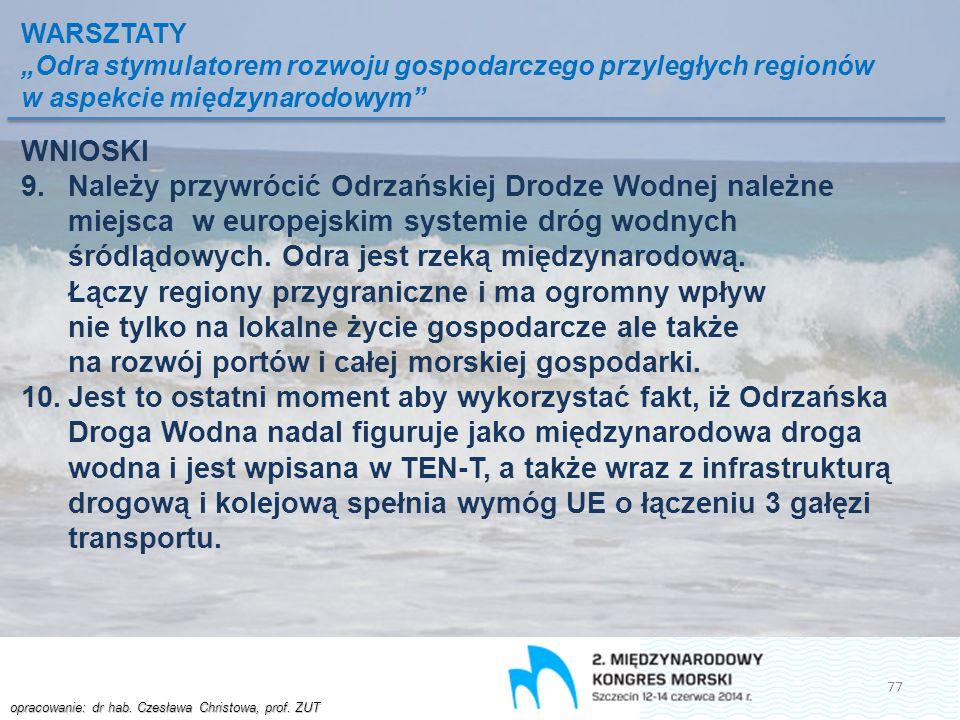 """WARSZTATY """"Odra stymulatorem rozwoju gospodarczego przyległych regionów w aspekcie międzynarodowym"""