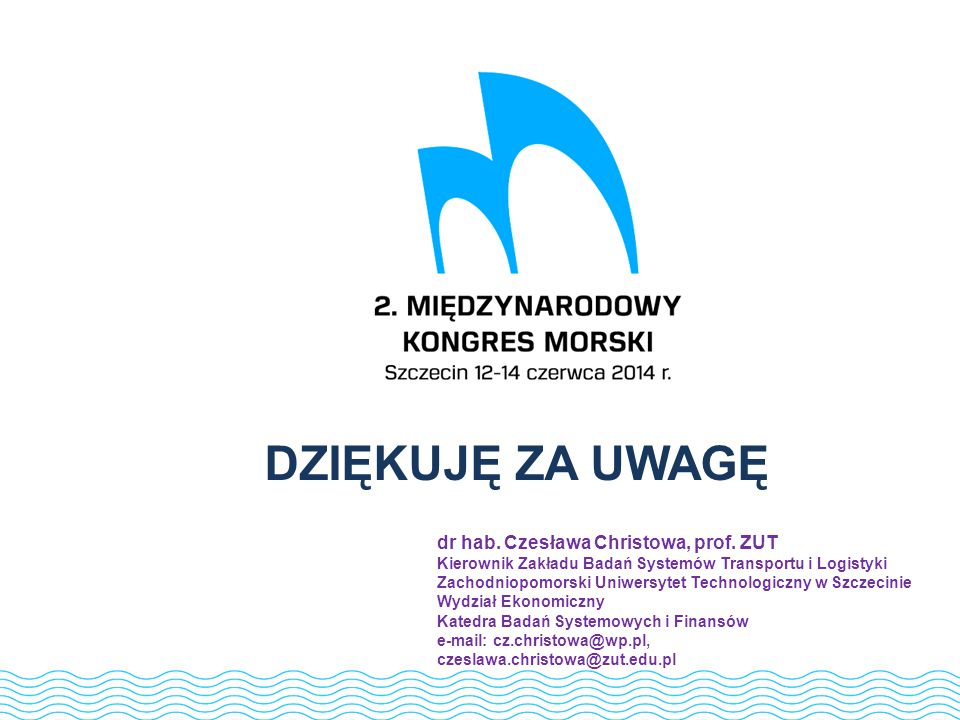 DZIĘKUJĘ ZA UWAGĘ dr hab. Czesława Christowa, prof. ZUT