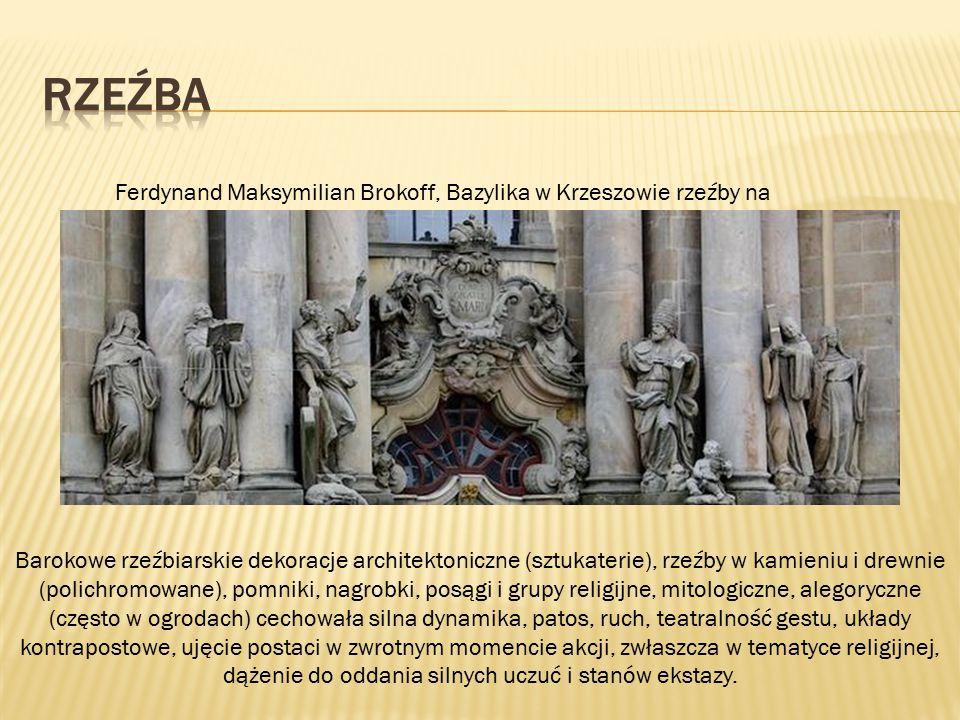 RZEŹBA Ferdynand Maksymilian Brokoff, Bazylika w Krzeszowie rzeźby na fasadzie.
