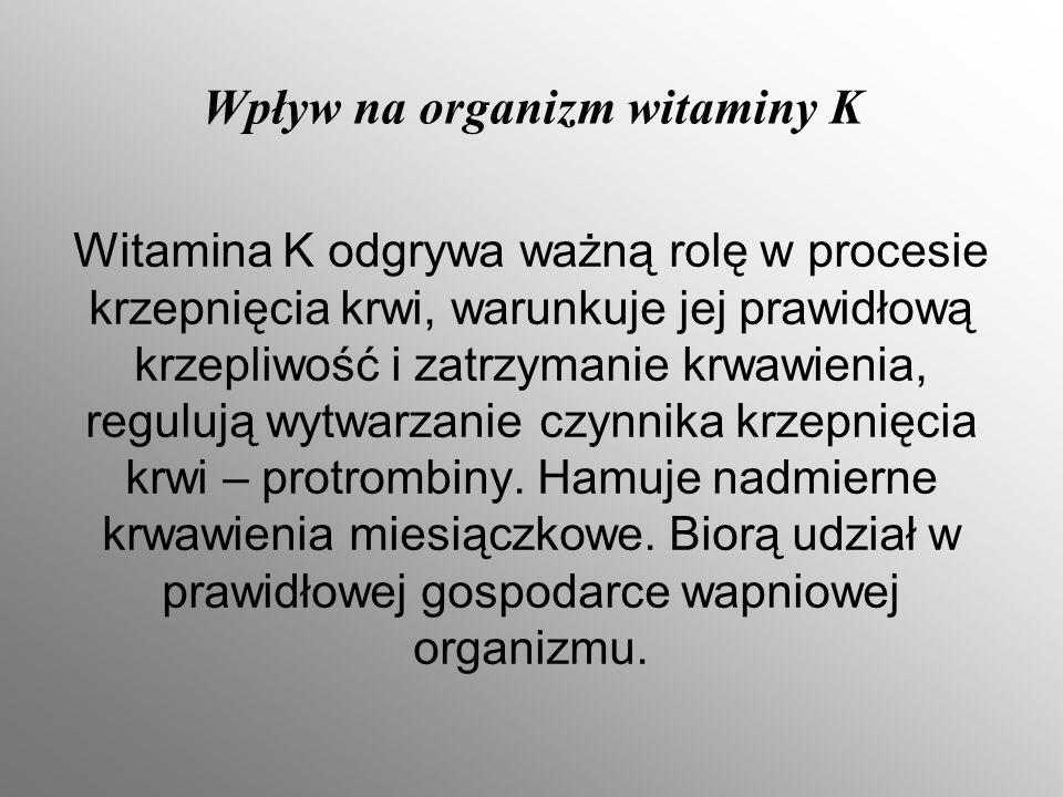 Wpływ na organizm witaminy K