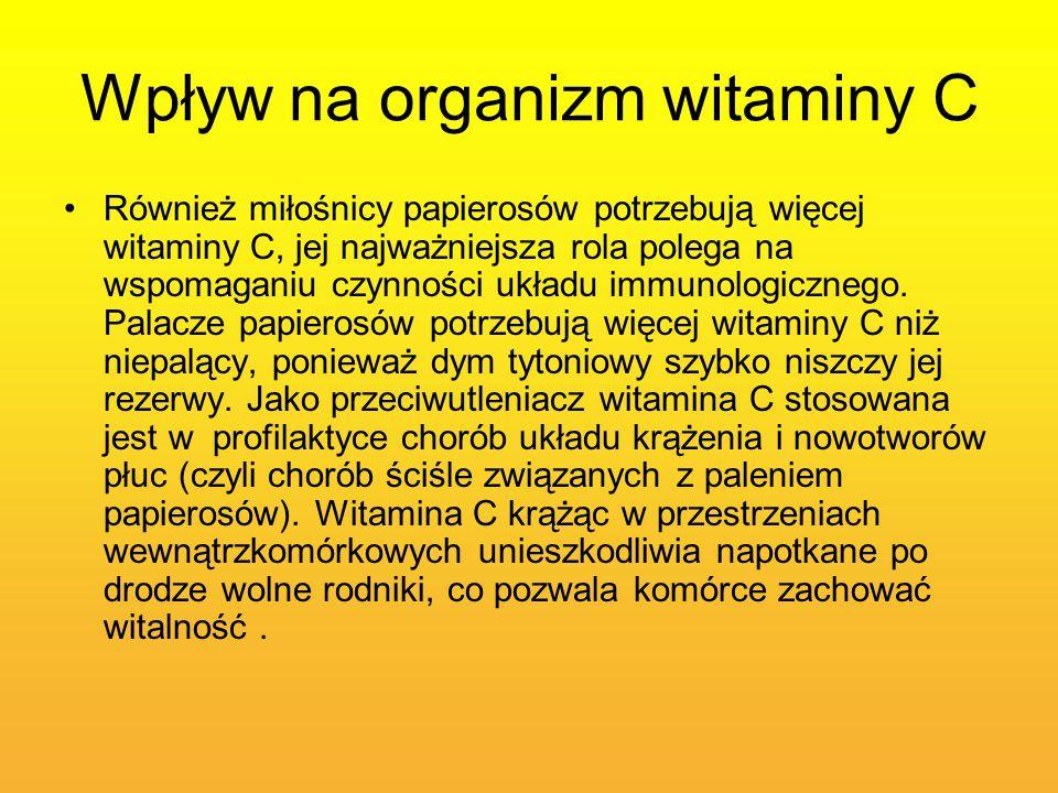 Wpływ na organizm witaminy C