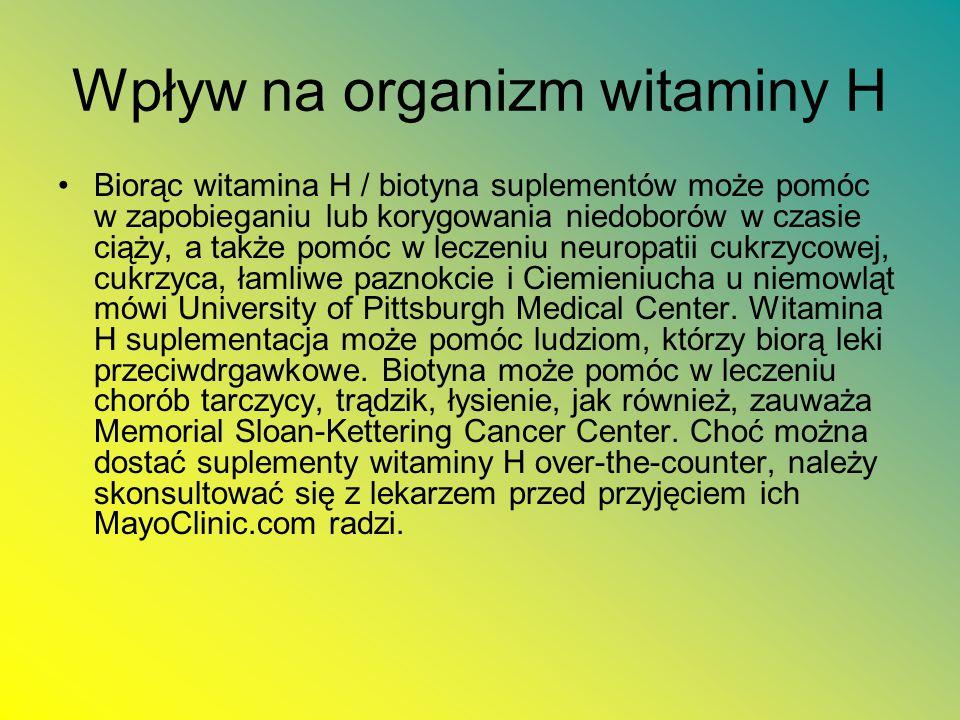 Wpływ na organizm witaminy H