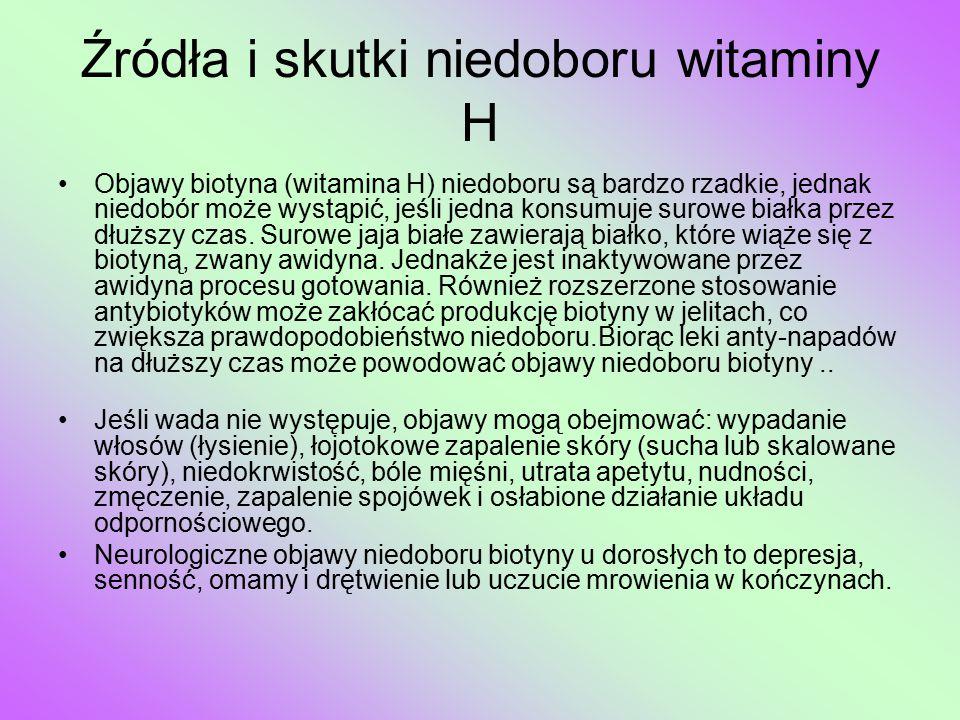 Źródła i skutki niedoboru witaminy H