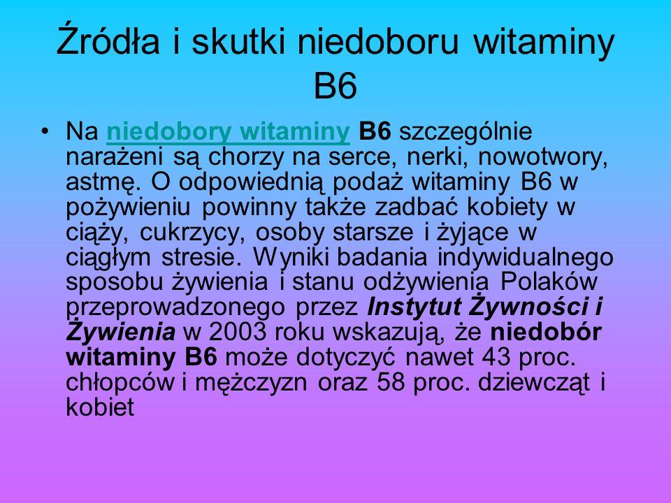Źródła i skutki niedoboru witaminy B6