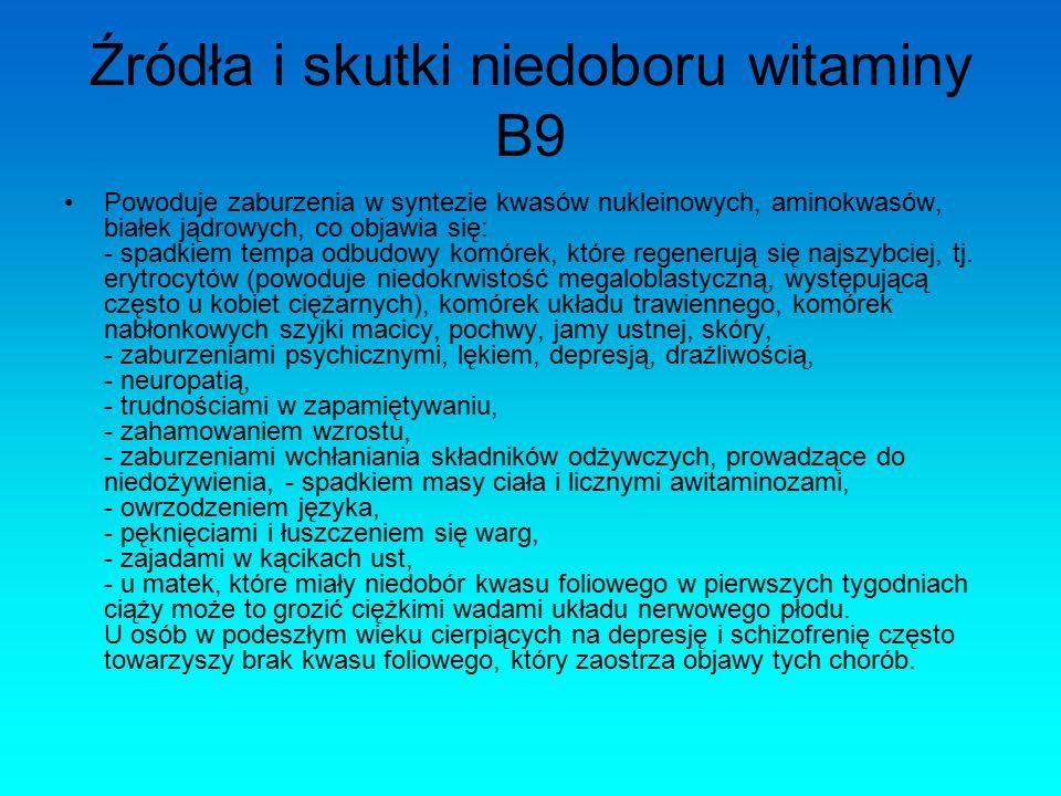 Źródła i skutki niedoboru witaminy B9