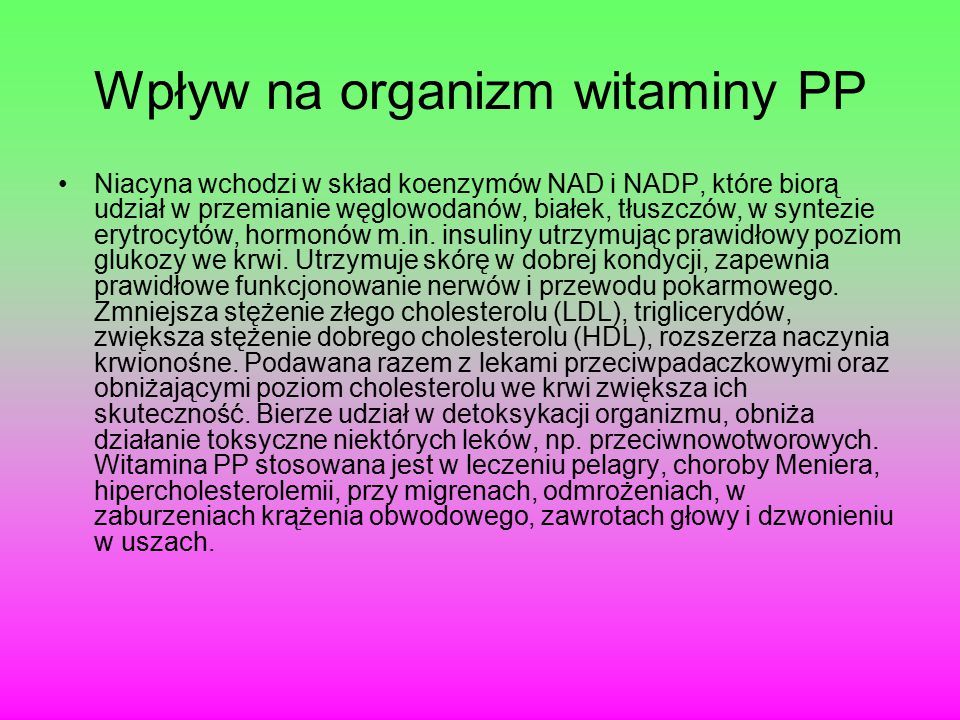 Wpływ na organizm witaminy PP