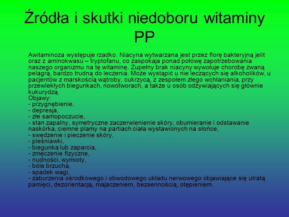 Źródła i skutki niedoboru witaminy PP