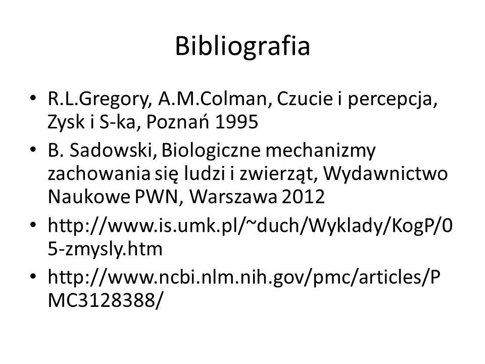 Bibliografia R.L.Gregory, A.M.Colman, Czucie i percepcja, Zysk i S-ka, Poznań 1995.