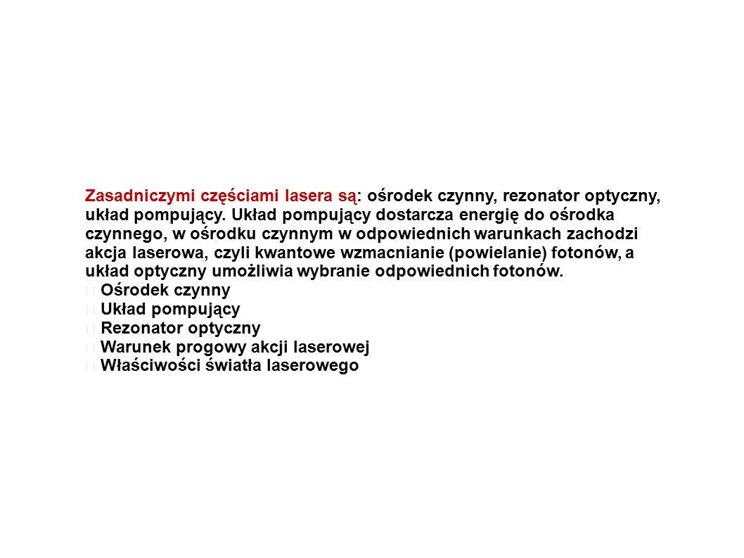Zasadniczymi częściami lasera są: ośrodek czynny, rezonator optyczny,