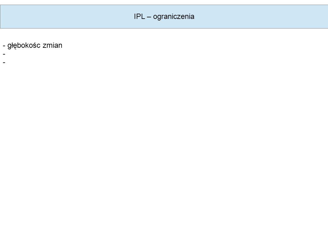 IPL – ograniczenia - głębokośc zmian -