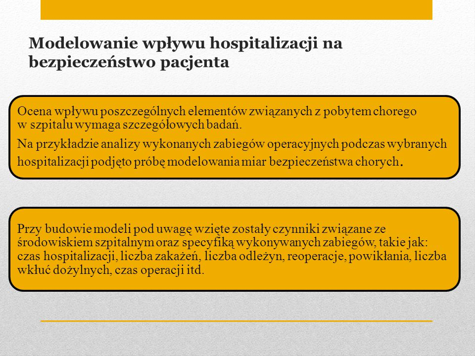 Modelowanie wpływu hospitalizacji na bezpieczeństwo pacjenta