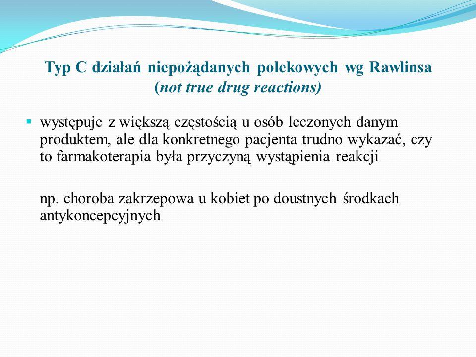 Typ C działań niepożądanych polekowych wg Rawlinsa (not true drug reactions)
