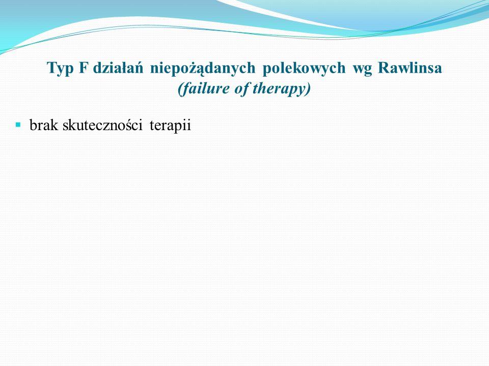 Typ F działań niepożądanych polekowych wg Rawlinsa (failure of therapy)