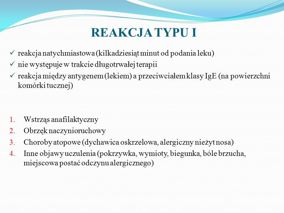 REAKCJA TYPU I reakcja natychmiastowa (kilkadziesiąt minut od podania leku) nie występuje w trakcie długotrwałej terapii.