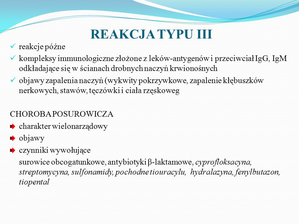REAKCJA TYPU III reakcje późne