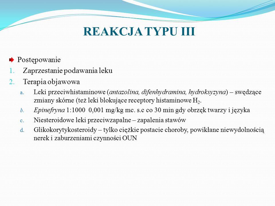 REAKCJA TYPU III Postępowanie Zaprzestanie podawania leku