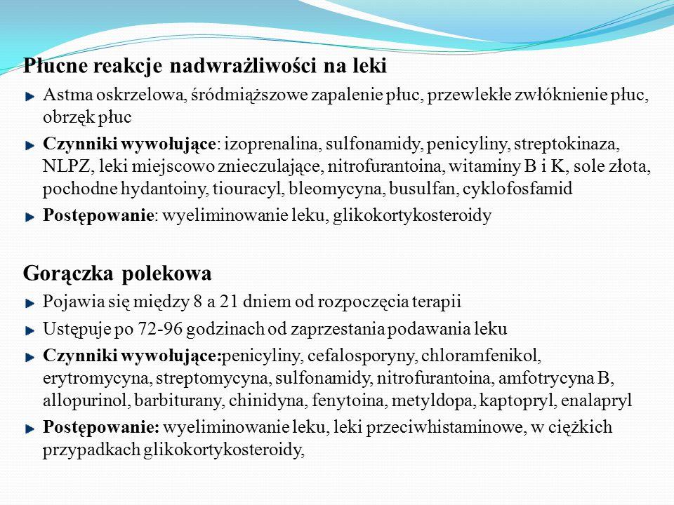 Płucne reakcje nadwrażliwości na leki