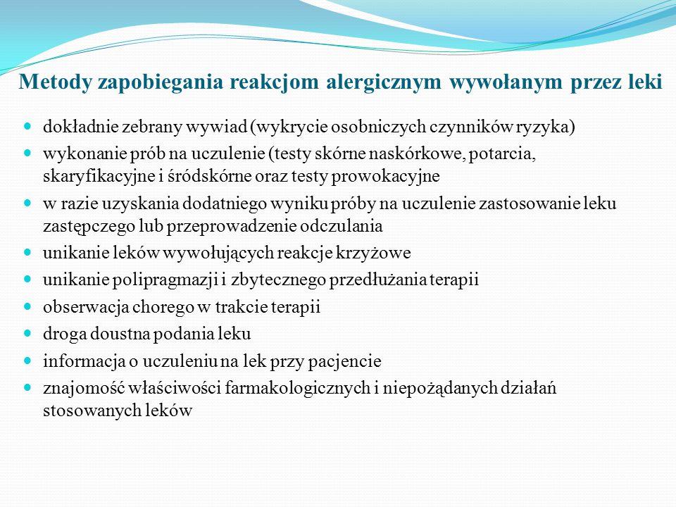 Metody zapobiegania reakcjom alergicznym wywołanym przez leki