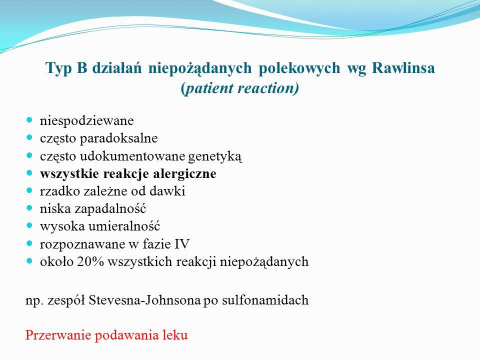 Typ B działań niepożądanych polekowych wg Rawlinsa (patient reaction)