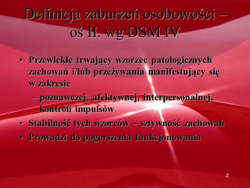 Definicja zaburzeń osobowości – oś II. wg DSM IV