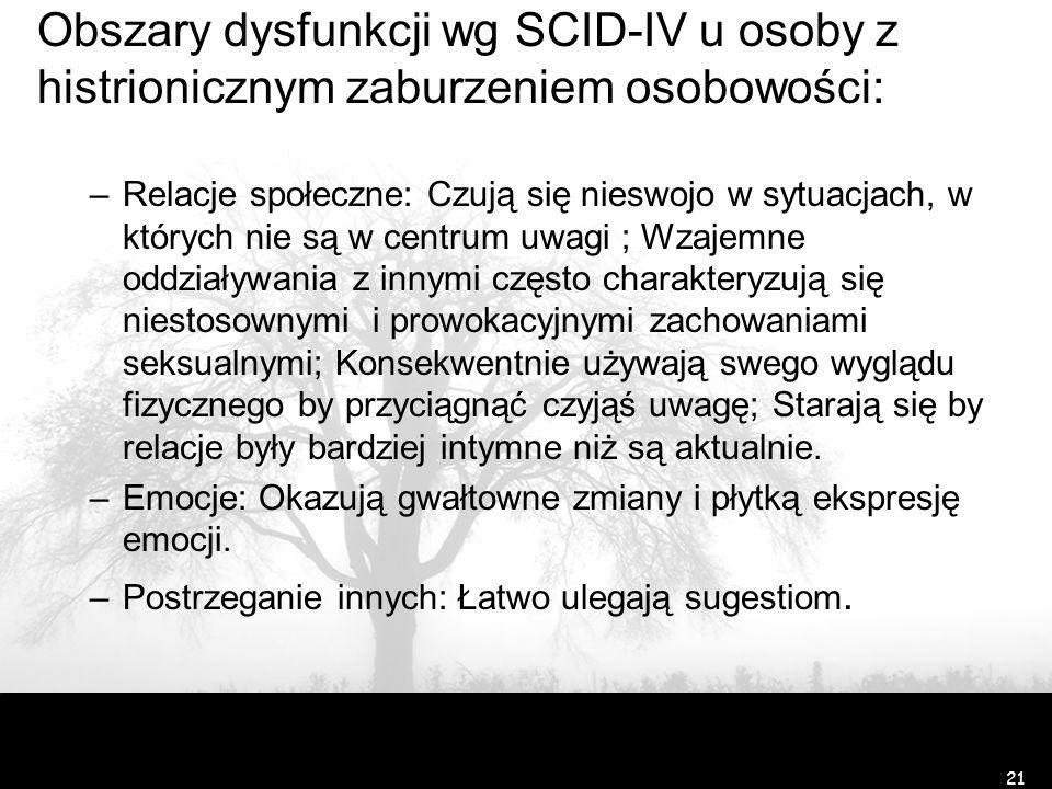 Obszary dysfunkcji wg SCID-IV u osoby z histrionicznym zaburzeniem osobowości: