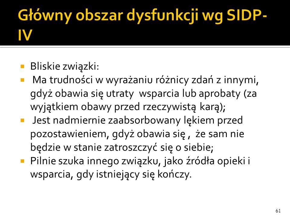 Główny obszar dysfunkcji wg SIDP-IV