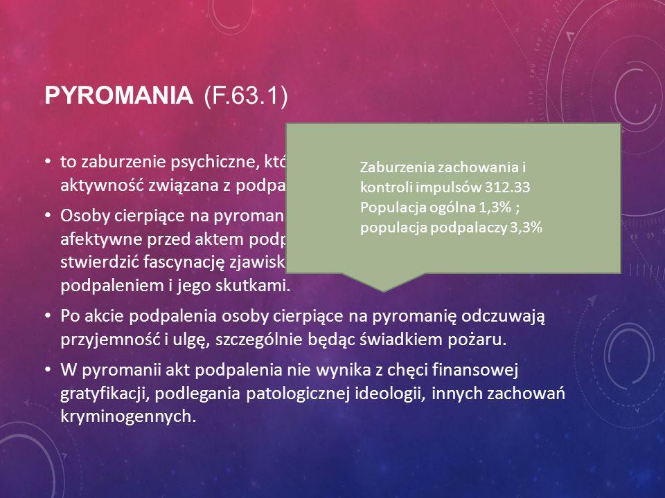 Pyromania (F.63.1) to zaburzenie psychiczne, którego istotą jest potwierdzona aktywność związana z podpaleniami.