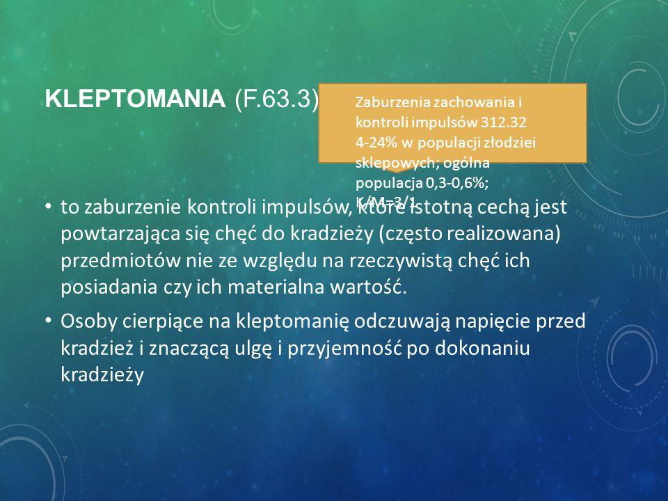 Kleptomania (F.63.3) Zaburzenia zachowania i kontroli impulsów 312.32. 4-24% w populacji złodziei sklepowych; ogólna populacja 0,3-0,6%; K/M=3/1.