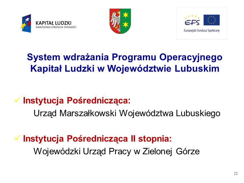 System wdrażania Programu Operacyjnego Kapitał Ludzki w Województwie Lubuskim