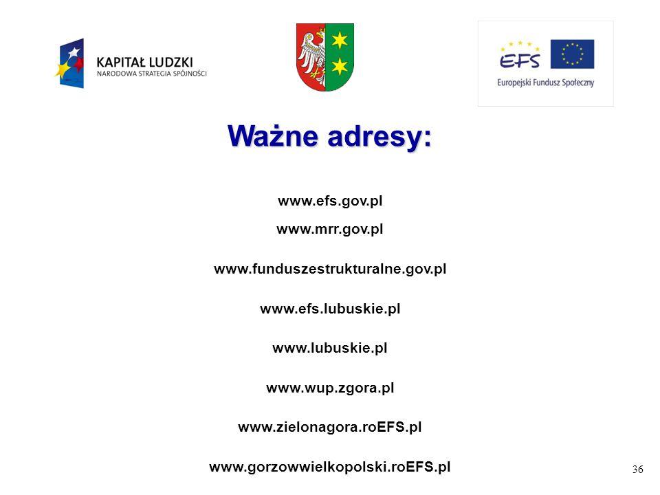Ważne adresy: www.efs.gov.pl www.mrr.gov.pl
