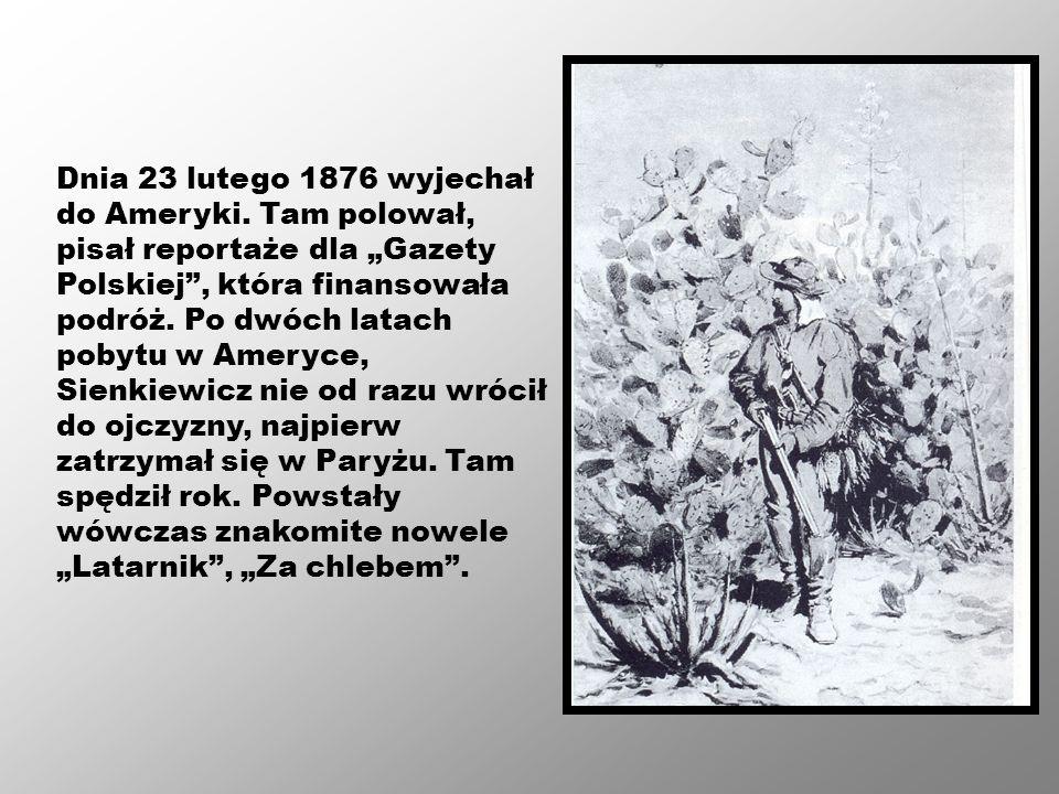 Dnia 23 lutego 1876 wyjechał do Ameryki