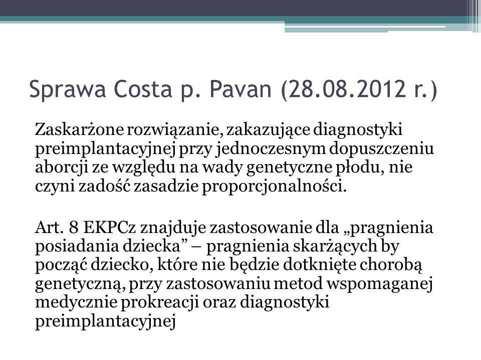 Sprawa Costa p. Pavan (28.08.2012 r.)