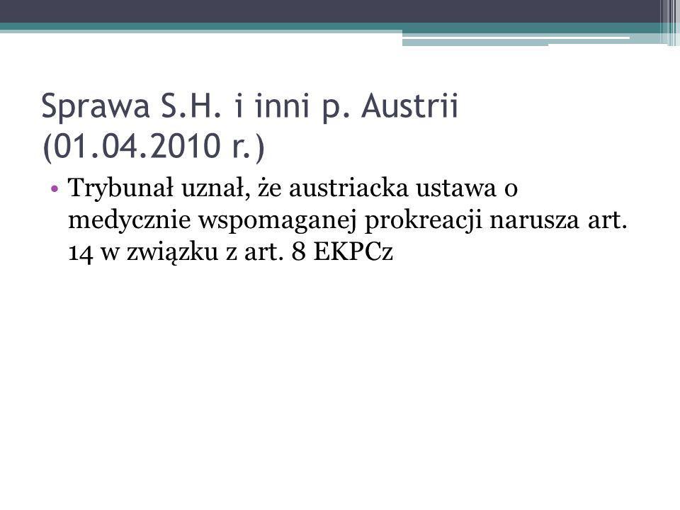 Sprawa S.H. i inni p. Austrii (01.04.2010 r.)