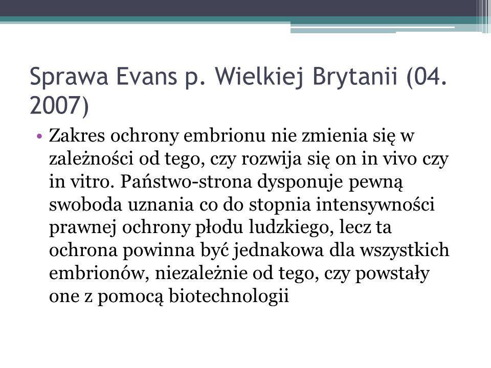 Sprawa Evans p. Wielkiej Brytanii (04. 2007)