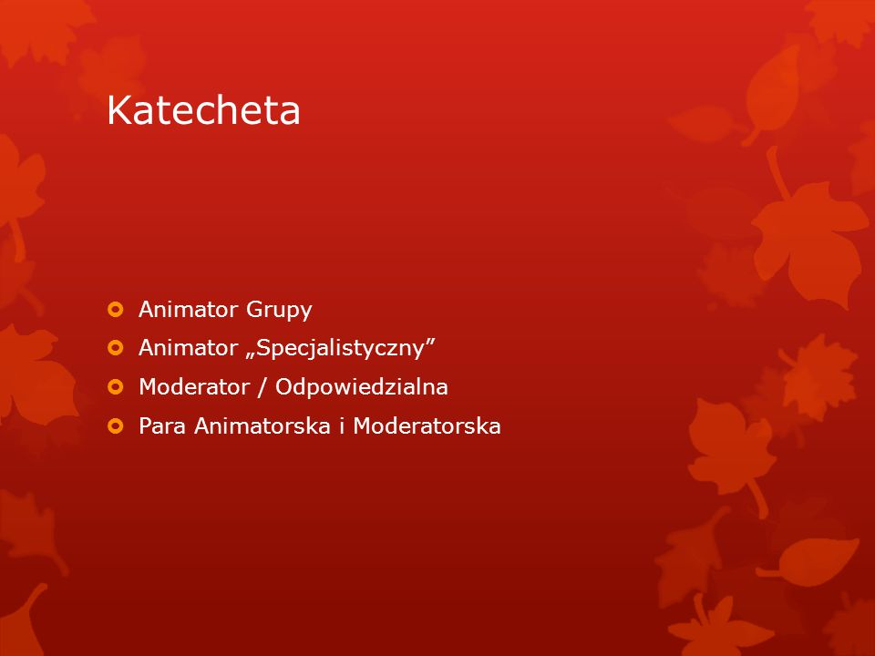 """Katecheta Animator Grupy Animator """"Specjalistyczny"""