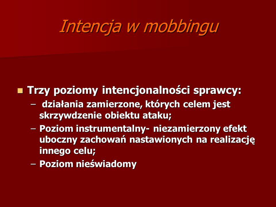 Intencja w mobbingu Trzy poziomy intencjonalności sprawcy:
