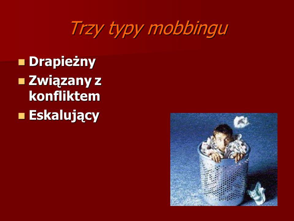 Trzy typy mobbingu Drapieżny Związany z konfliktem Eskalujący