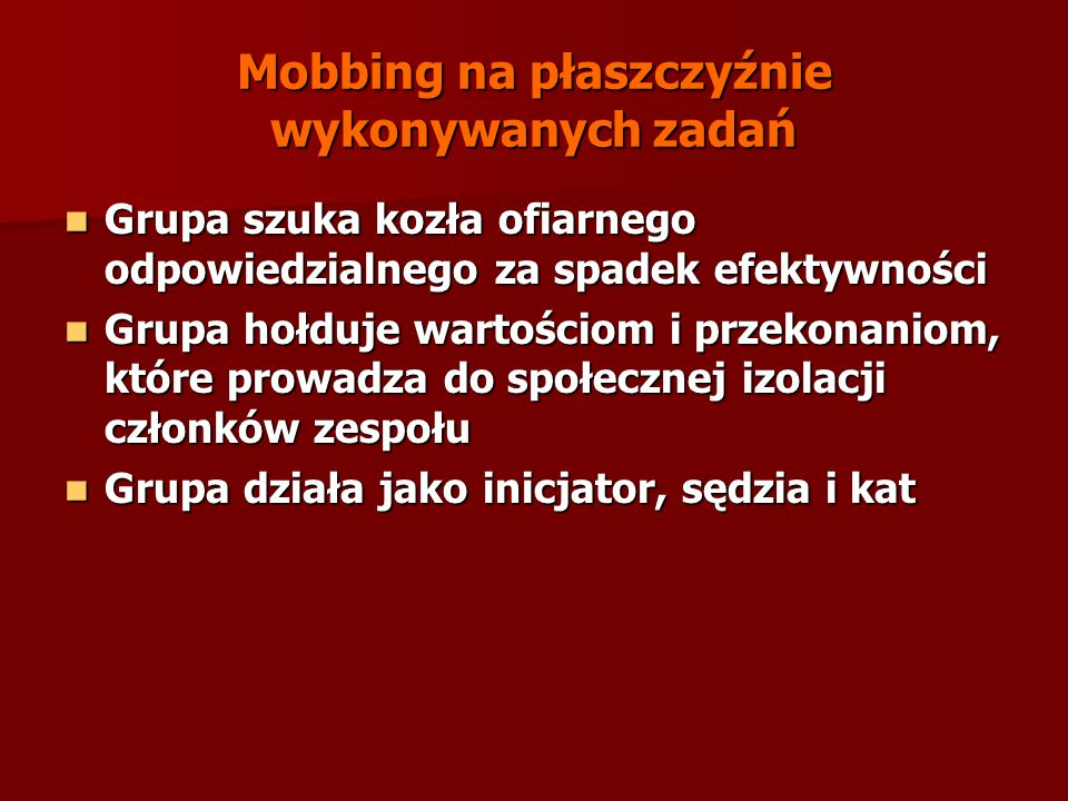 Mobbing na płaszczyźnie wykonywanych zadań