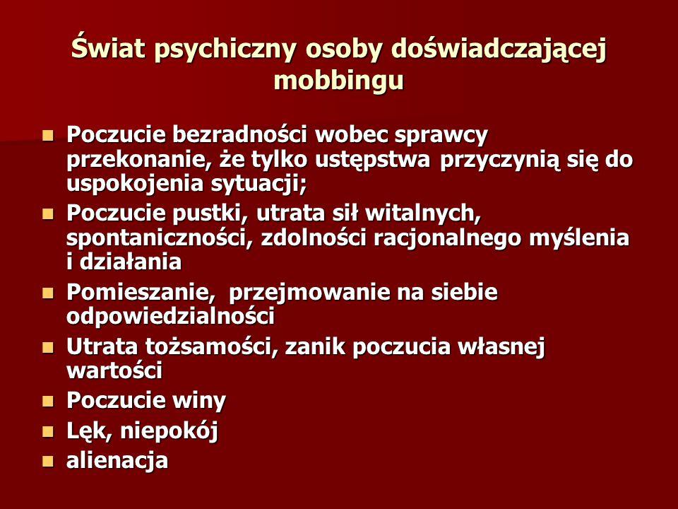 Świat psychiczny osoby doświadczającej mobbingu