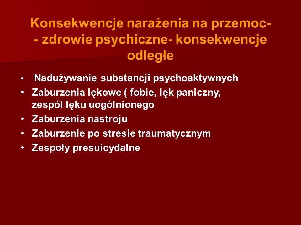 Konsekwencje narażenia na przemoc- - zdrowie psychiczne- konsekwencje odległe